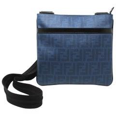 Fendi Zucca Men's Crossbody Bag in Blue Nappa Leather, 2014/2015