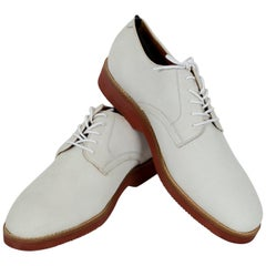 New Men's Winter White Nubuck Oxford Brogues, 21st Century