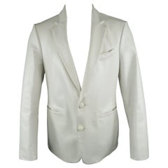 Men's AL'S ATTIRE 38 White Leather Notch Lapel Two Buttom Custom Jacket