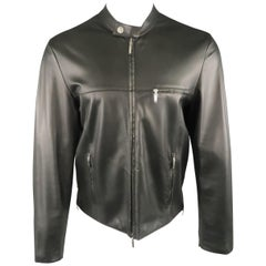 Men's VERSACE COLLECTION 40 Black Soft Leather Bank Collar Biker Jacket
