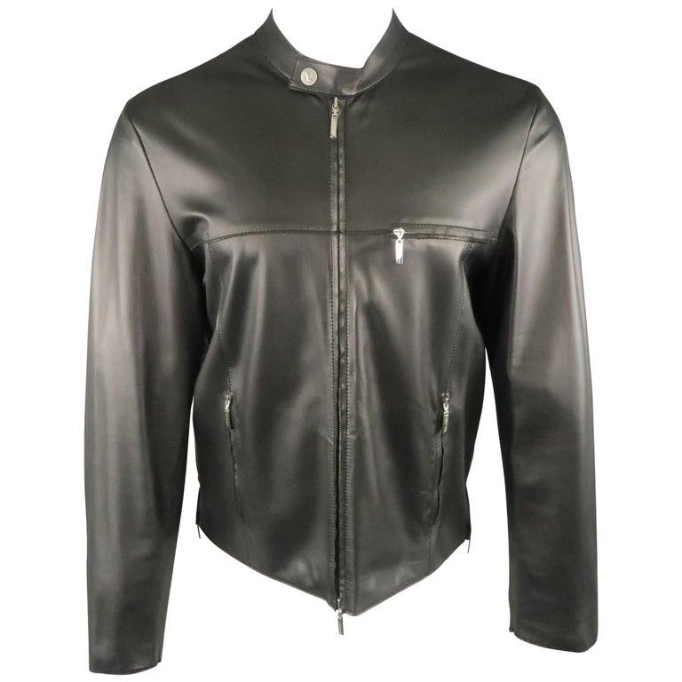 Men S Versace Collection 40 Black Soft Leather Bank Collar Biker