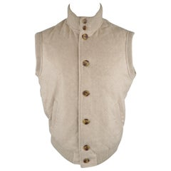 LORO PIANA S Oatmeal Beige Quilted Cashmere Ribbed Collar Vest