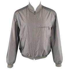 BRIONI 42 Silver Grey Silk & Orange Plaid Reversible Bomber Jacket