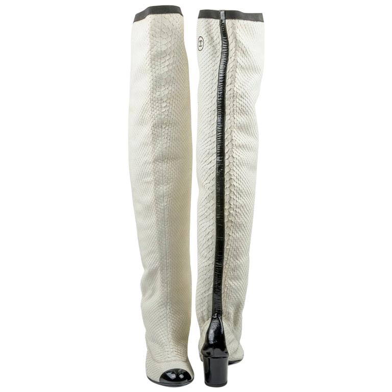 CHANEL Thigh Boots in White Python Leather Size 37FR For Sale
