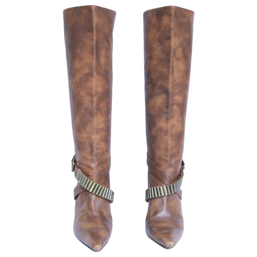 CELINE High Heels Boots in Speckled Brown Leather Size 37FR