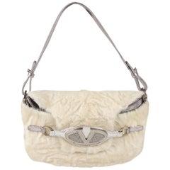 Valentino Garavani White Fur and Silver Leather Shoulder Bag