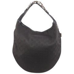 Gucci Black Monogram Canvas Wave Horsebit Hobo Shoulder Bag