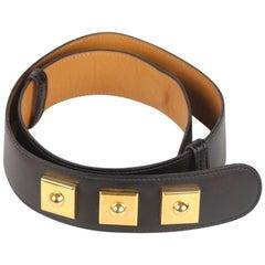 Hermes Vintage Black Leather Piano Belt Size 70