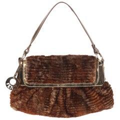 Fendi Brown Lapin Fur Chef Shoulder Bag