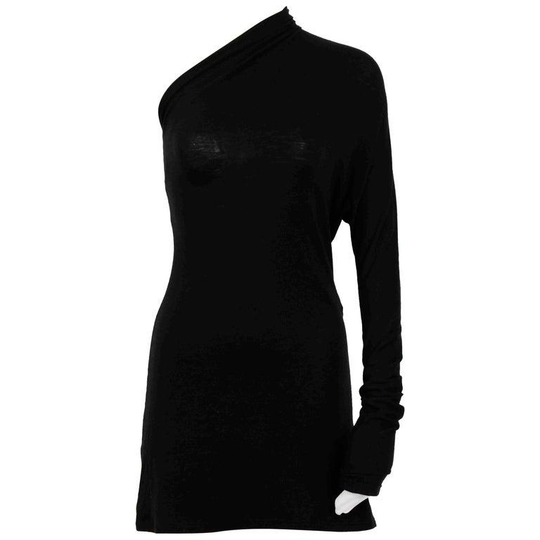 Maison Martin Margiela white label one sleeve black light knit mini dress