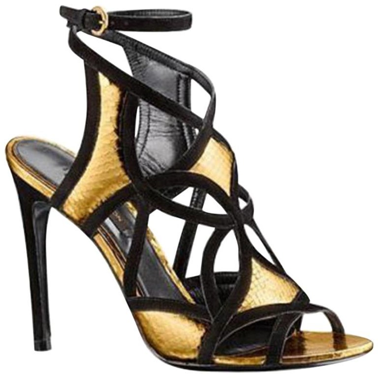 a0eb896266a3 Louis Vuitton Gold and Black Cut-Out Ankle-Strap Sandals For Sale at ...