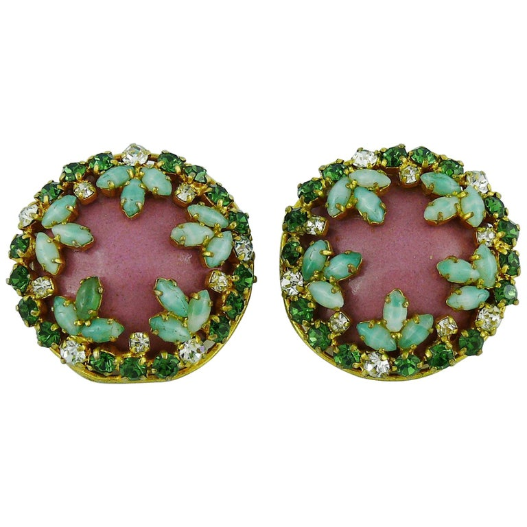Christian Dior Vintage Jewelled Clip-On Earrings 1960s For Sale