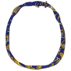 HERMES Small H Bracelet in Blue and Gold Scarf Pattern Silk