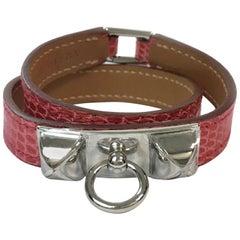 HERMES Rivale Double Tour Bracelet in Bougainvillier Color Lizard Leather