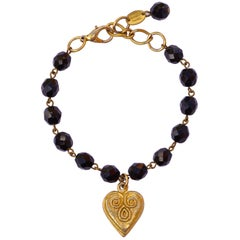 Poggi Paris Vintage Gold Plated and Black Glass Heart Bracelet, circa 1980s