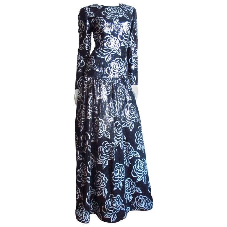 1990s Oscar de la Renta Sequin Gown For Sale