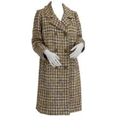 Herbert Schill Wool Tweed Boucle Double Breasted Coat circa 1968 Vienna