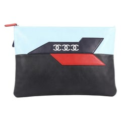 Chanel Airlines O Case Clutch Leather Large