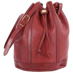 Christian Dior Vintage Drawstring Bucket Bag Leather Medium