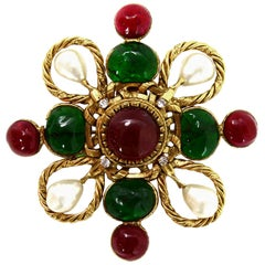 Chanel 80's Red/Green Gripoix & Faux Pearl Brooch Pendant w. Strass Crystals
