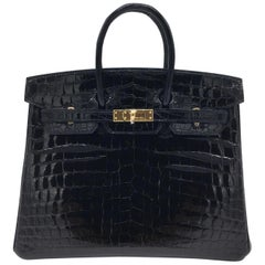 Hermes Black shiny crocodile Birkin 25cm Bag