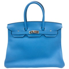 Hermes Bleu Paradis Birkin 35cm in Clemence