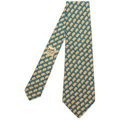 Pristine Vintage Hermes Silk Tie 'Sheep'