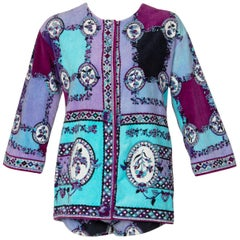 1960s Emilio Pucci Purple Turquoise Velvet Terry Romper Cover-Up