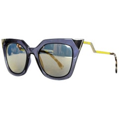 Fendi Blue Iridia Metal Tip Cat Eye Sunglasses w/ Mirrored Lenses rt. $465