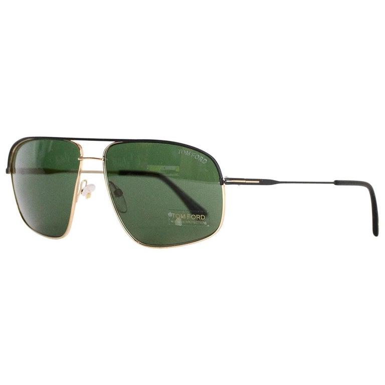 Tom Ford Black/Goldtone Justin Aviator Unisex Sunglasses w/ Case & Cloth