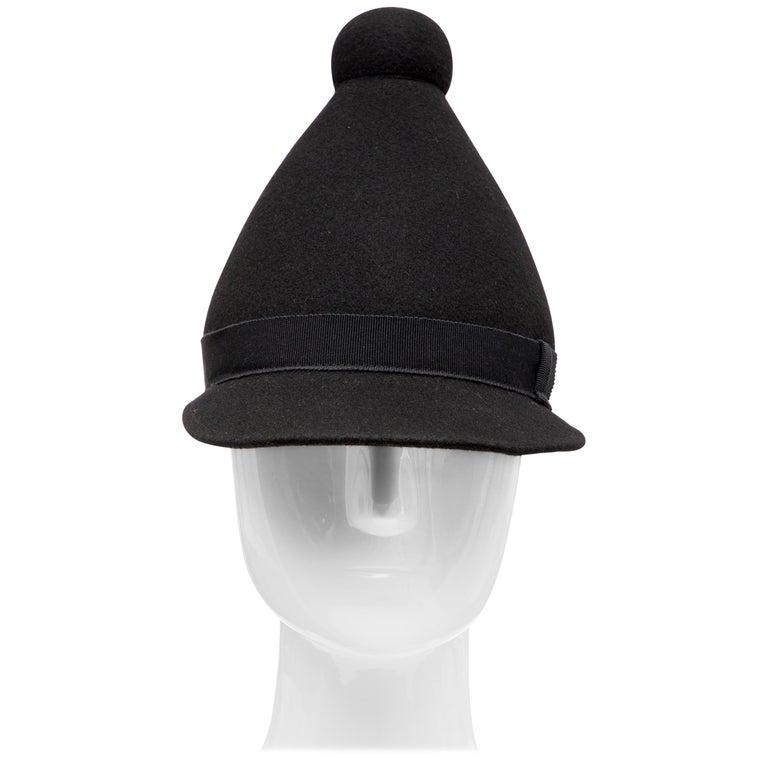 Henrik Vibskov Men s Runway The Eat Black Wool Felt Cone Hat 03bf4576964