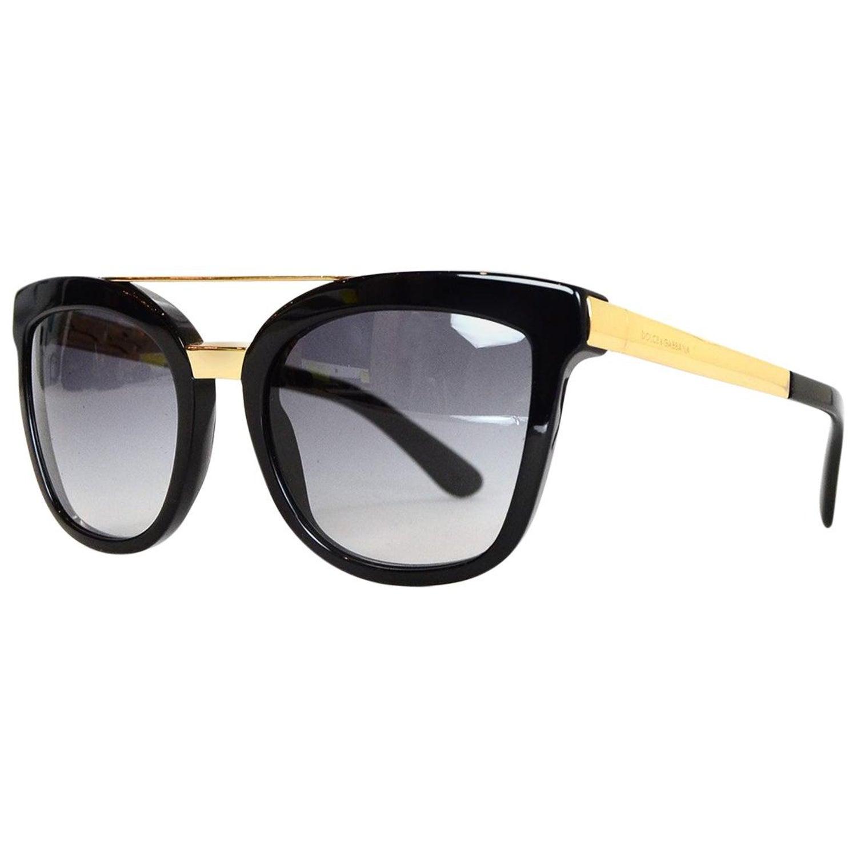 d70b3dd2dabb Dolce and Gabbana DG 4269 Black Resin Sunglasses w  Top Goldtone Bar For  Sale at 1stdibs