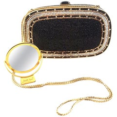 Judith Leiber Black, Gold & Silver Crystal Minaudiere Evening Bag