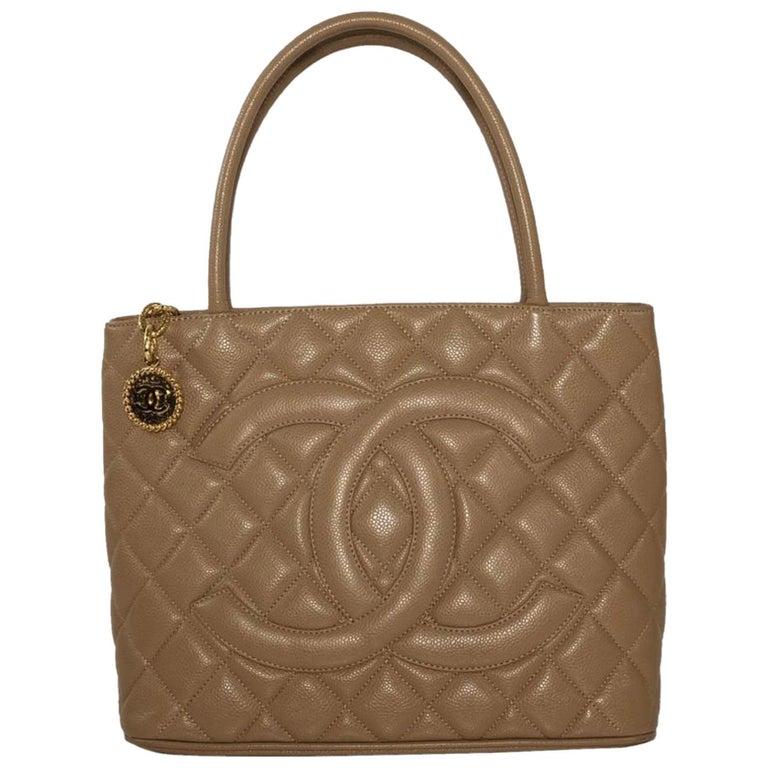 Chanel Caviar Leather Medallion with Gold Hardware in Beige Shoulder Handbag