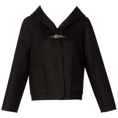 Valentino Black Wool Angora Hoodie Leather Buckle Jacket