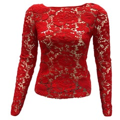 Blumarine Red Lace Blouse