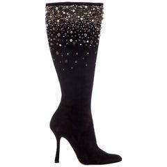 Oscar De La Renta Black Suede Embellished Boots, Fall 2006