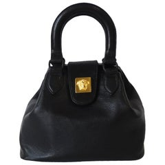 1990s Gianni Versace Black Leather Handbag