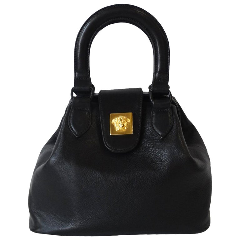 26fe5a330460 1990s Gianni Versace Black Leather Handbag at 1stdibs