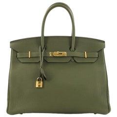 Hermes Birkin Handbag Vert Canopee Togo with Gold Hardware 35