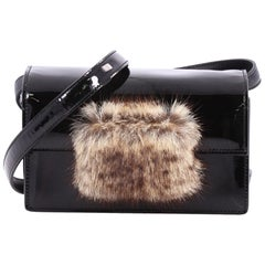 Saint Laurent Lulu Bunny Shoulder Bag Patent with Fur Small