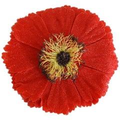 Chanel Red Poppy Brooch