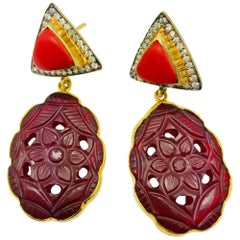 Meghna Jewels Red Resin Hand Carved Earrings