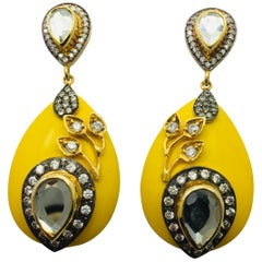 Resin Yellow Leaf Meghna Jewels Earrings