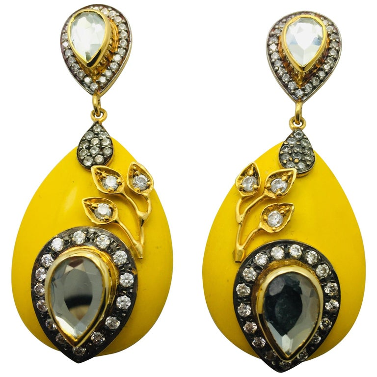 Meghna Jewels Handcrafted Resin Yellow Leaf Earrings  1