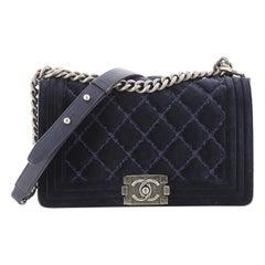 Chanel Boy Flap Bag Quilted Velvet Old Medium
