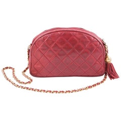Chanel Red Lamb Leather Quilted Shoulder Camera Bag