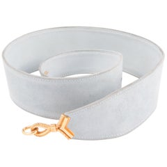Hermes Light Sky Blue Suede Cordeaux Belt