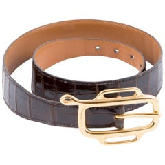 Hermes Chocolate Crocodile Belt
