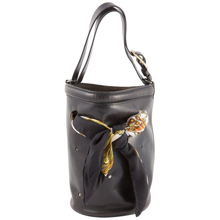 Hermes Black Box Calf Mangeoire Tote Bag and Hermès Passementerie Silk Scarf For Sale